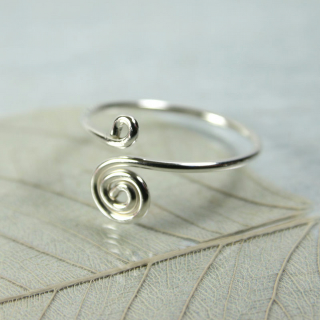 Sterling Midi Ring - Loop and Spiral - Above Knuckle Ring - Adjustable