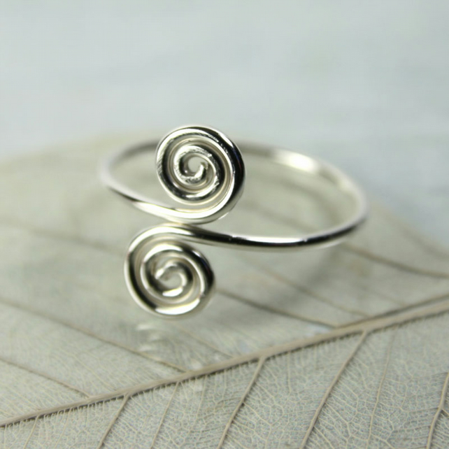 Sterling Midi Ring - Two Spirals - Above Knuckle Ring - Adjustable