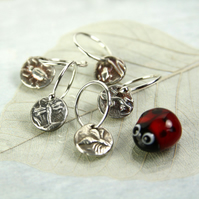 Tiny Silver Charm Earring Dangles Nature Motifs - Totem Animals