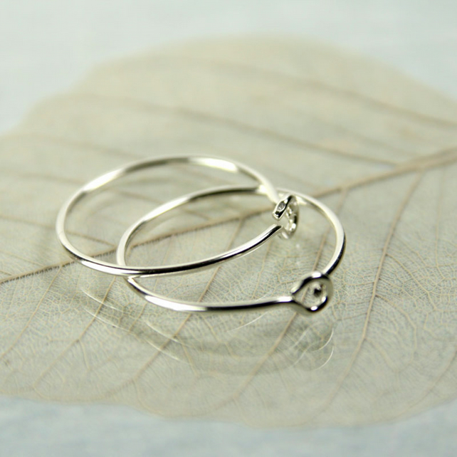 Silver Sleeper Hoops - Sterling Earrings