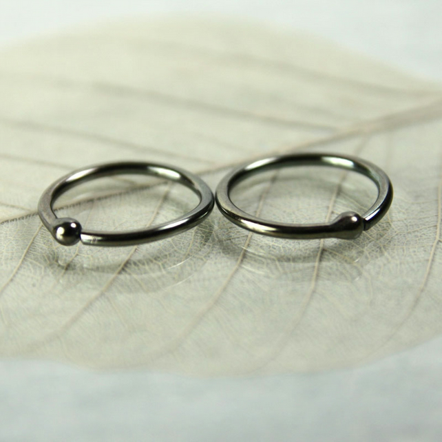 Oxidised Sterling Silver Sleeper Earrings - 11mm Hoops