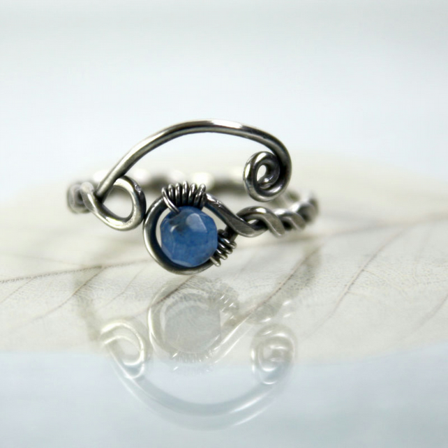 Sterling twist Ring with Blue Jade - Viking Style Rustic Jewellery