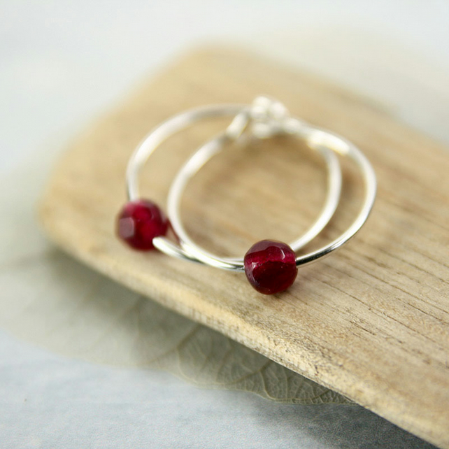 Silver Sleeper Hoops - Sterling Earrings with Plum Jade Bead