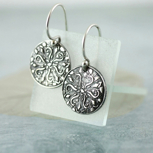 Eco Fine Silver Dangle Earrings. Starfish Sea Beach Motif