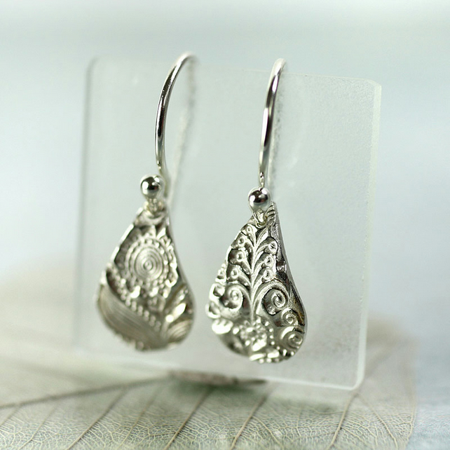 Fine Silver Drop Earrings - flower fairytale doodle