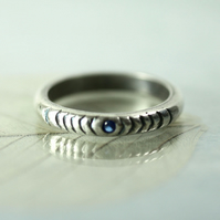 Half-round Sterling Ring with Tiny Blue Spinel - Hand Carved Concentric Circles