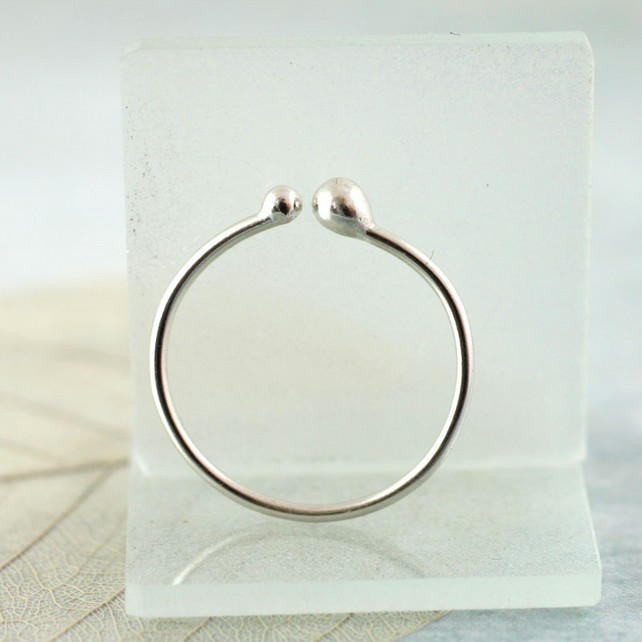 Silver Stacking Ring with Small and Tiny Ball Ends in Argentium Silver