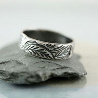 Silver Leaf Ring - Forest Wreath - Woodland leaves - Sterling Band - Forest Love