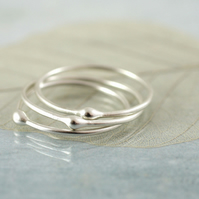 Sterling Argentium Dot Stacking Rings - Set of 3