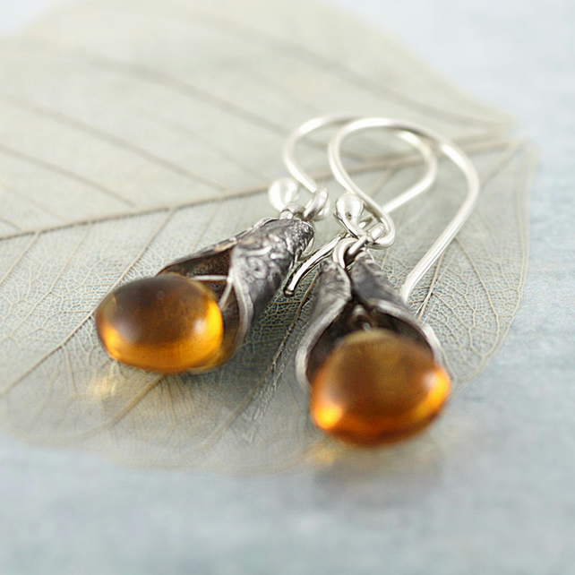Citrine Silver Earrings - Yellow Gemstones Drops Wrapped in Elvish Silver