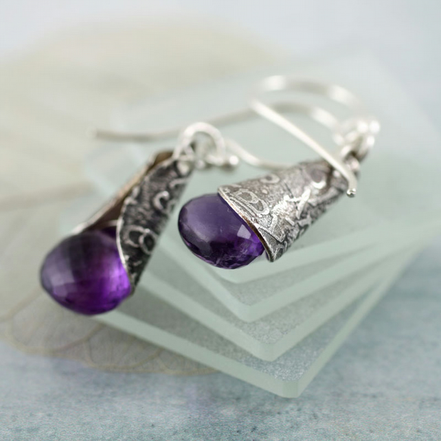 Amethyst Drop Earrings - Faceted Purple Gemstones Wrapped in Silver