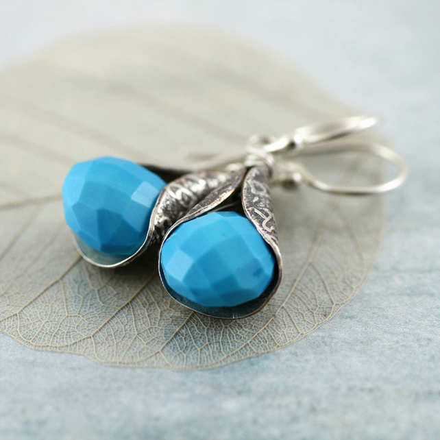 Turquoise Drop Earrings - Faceted Sleeping Beauty Gemstones Wrapped in Silver