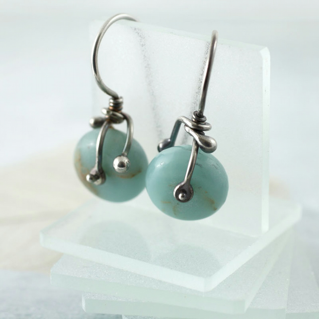 Silver and Jasper Earrings - Riveted Aqua Terra Jasper on Sterling