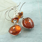 Amber Silver Earrings - Rustic Sterling Domes Amber Beads