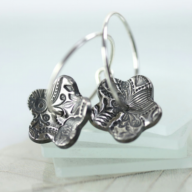 Silver Hoops with Daisy Flowers - Textured Sterling