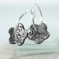 Sterling Silver Hoops with threaded Flowers - Daisy Earrings Impressed Pattern