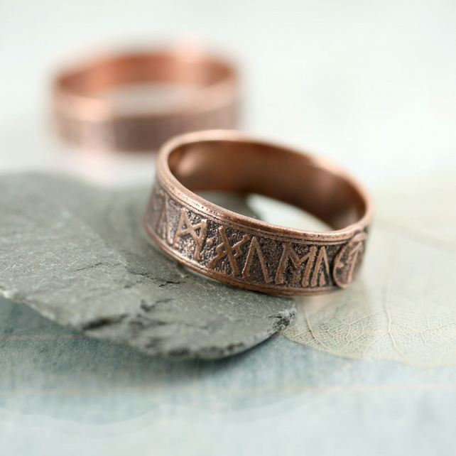 Copper Band Ring - Rustic Viking Treasure - Runes Morte d'Arthur