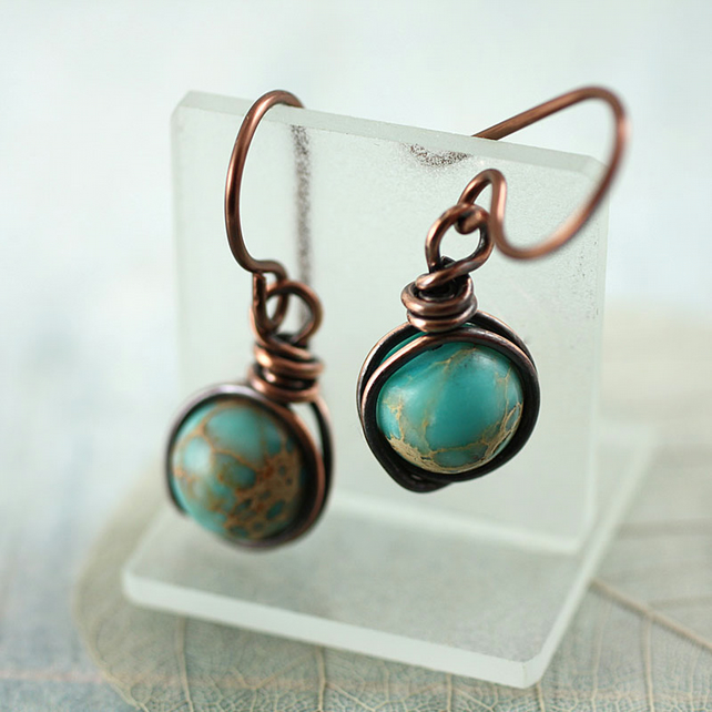 Copper Earrings With Crazy Lace Jasper - Gemstone Dangle Wire Wrapped Beads