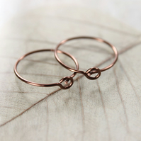 Copper Sleeper Earrings - One Pair of Hoops