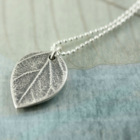 Tiny Fine Silver Leaf Charm with Delicate Sterling Chain