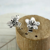 Little Flower Studs in Sterling Silver - Forget-Me-Not Earrings on Posts