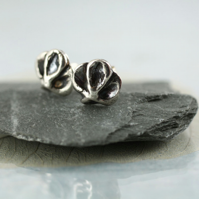 Orchid Flower Studs - Fine Silver on Sterling Posts