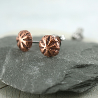 Copper Stud Earrings Sea Urchins - Tiny mermaid charms