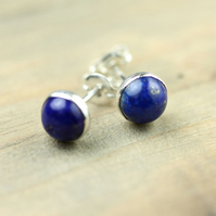 Sterling Silver Earring Posts with Lapis Lazuli Cabochons 6mm