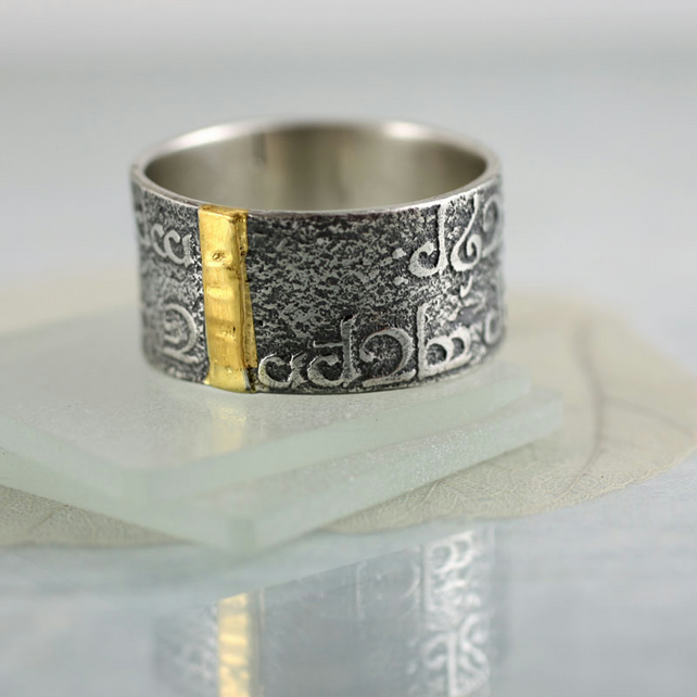 Wide Band Ring in Sterling with Streak of Gold - Elven Verse and Elvish Runes