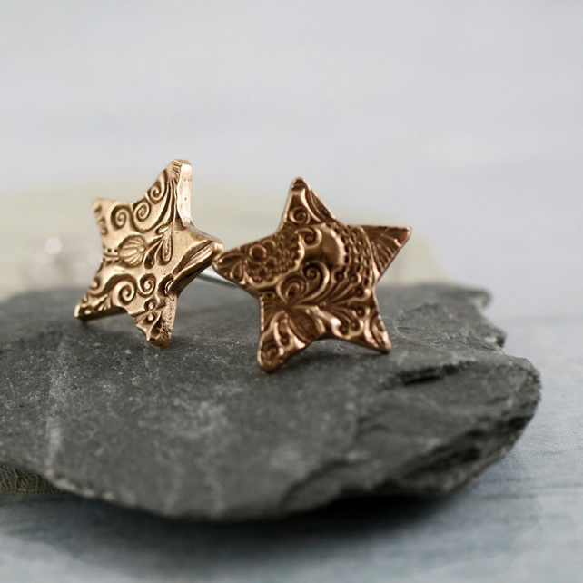 Star Earring Studs - Golden Bronze Charms