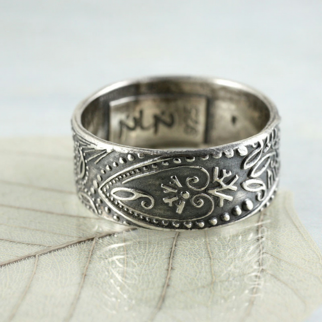Wide Silver Paisley Ring - The Romantic Choice