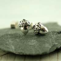 Silver Acorn Stud Earrings - Cute Woodland Everyday Posts
