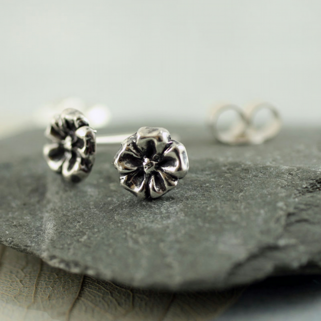Silver Flower Earrings - Tiny Floral Stud Charms