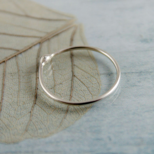 Silver Stacking Ring - Single Bud Ring in Argentium Sterling