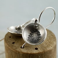 Dome Silver Earrings with Pine Cone Design - Autmun Dangle Bowls