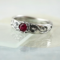 Silver Ruby Ring - Unique Hand Carved in Size N