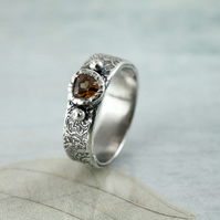Silver Band Ring with Topaz CZ - Fine Lace Pattern. Size UK J 0.5