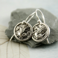 Sterling Silver Drops - Dragon Charm Earrings