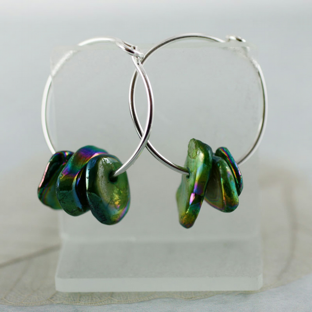 Gemstone Sterling Hoops - Silver Sleeper Earrings with Mother of Pearl Nuggets