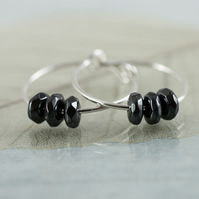 Gemstone Sterling Hoops - Silver Sleeper Earrings with Hematite Rondelles