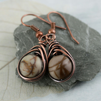 Picasso Jasper Rounds Wrapped in Herringbone Copper Wire - Earthy Earrings