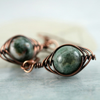 Moss Agate Earrings Wire Wrapped in  Copper - Herringbone Style
