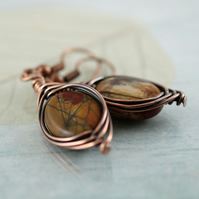 Picasso Jasper Earrings Wire Wrapped Herringbone Style in Copper