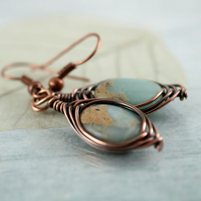 Copper and Jasper Earrings Wire Wrapped Herringbone Style