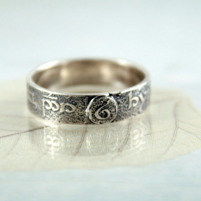 Sterling SIlver Band Ring - Elvish Heirloom Find - Tolkien Elven runes