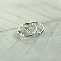 8 mm Hoop Earrings - Sterling Silver Sleepers - 1 pair