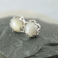White Silver Earrings - Flower bud Studs with Mother of Pearl