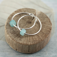 Silver Gem Hoops - Sterling Earrings with Cute Cylinder Amazonite Beads