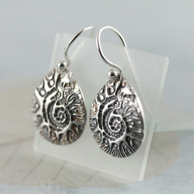 Fine Silver Dangle Earrings. Snail Sea Shell Impression - Ammonite