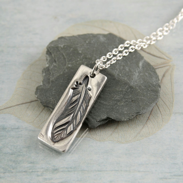 Feather Charm Pendant in Sterling with Chain
